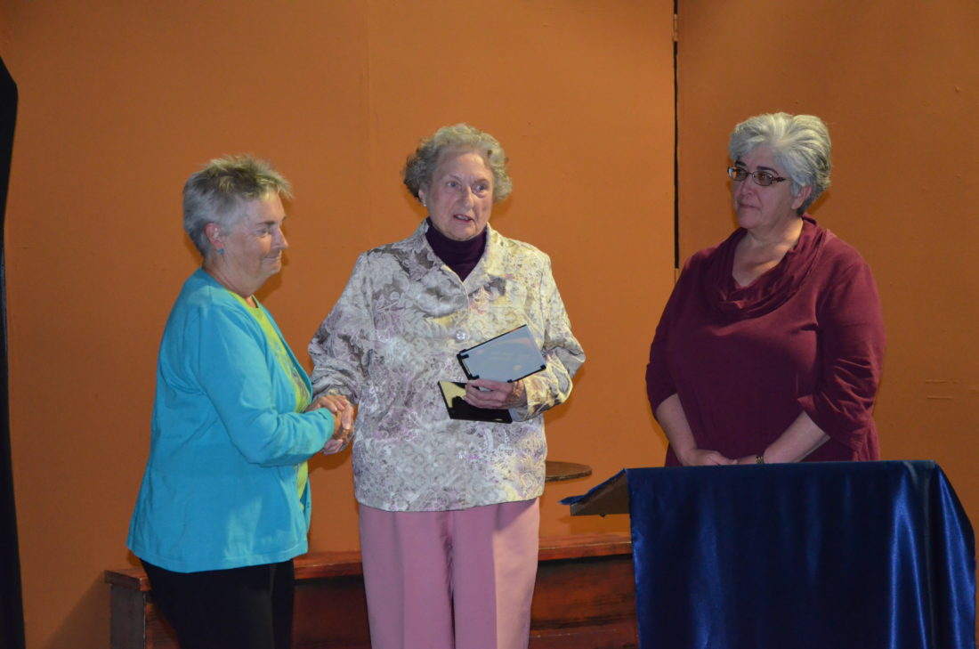 Lesley Ann McCloskey receives the Jennie Tetreau Award for Outstanding Service to GPLT from Founding Member Jennie Tetreau and Past President Debbie Haiworonsky